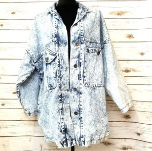 BE IN THE SEEN ACID WASH COAT VINTAGE L/ XL EP974